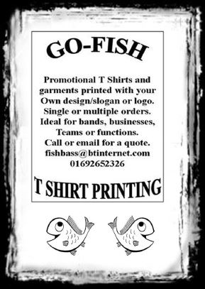 Go Fish T Shirt Printing  Promotional T Shirts and garments printed <br>with your own design/slogan or logo <br> Single or multiple orders, Ideal for bands, businesses, teams or functions. <br> Call or email for a quote.